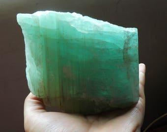Natural Big Aquamarine Blue Beryl Mineral Specimen Crystal Reiki Throat Chakra Healing Gemstone Free Wood Stand