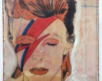 David Bowie, ziggy stardust, painting, icon, encaustic