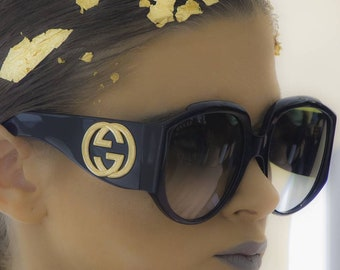 Classic Gucci black gold big sunglasses