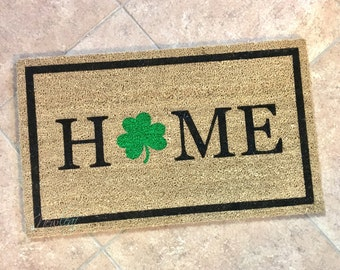 Home Doormat - St Patricks Day Doormat - St Pattys Day Decor - St. Patty's Day - Welcome Mat - New Home Decor - Irish Gift - Shamrock