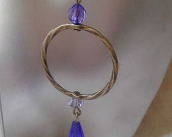 "Earrings ""large bronze ring and purple beads"""