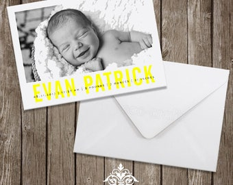Baby Boy Photo Birth Announcement Printable, Bold, Yellow Design, Minimalist, Modern,