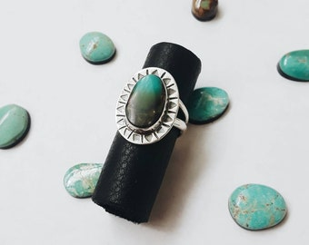 Ombre Statement Ring, USA Mined Turquoise and Sterling Silver Ring, Hand Etched, Handmade