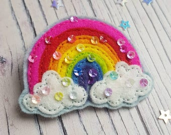 Rainbow brooch with sequins