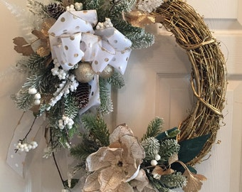 Christmas Wreath, Holiday Wreath, Winter Wreath, Gold Wreath, Gold Christmas Decor, Door wreath, Christmas Decor, Polka Dots, Gold, Wreath