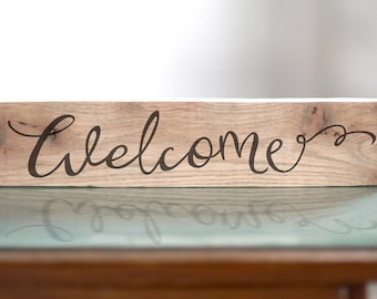 Wood Rustic Home Decor Welcome Sign Gift For Her | Wedding Gift | Birthday Gift For Mom | Reclaimed Wood Sign | Entry Sign
