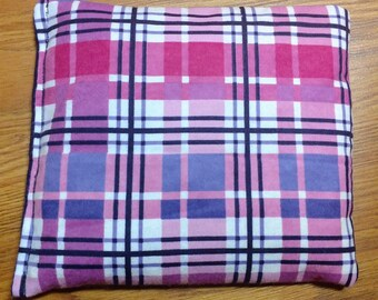 Corn Bag, Heating pad- Ice Pack- Microwavable/- Freezable- Approx 8x8, Purple and Pink Plaid Flannel