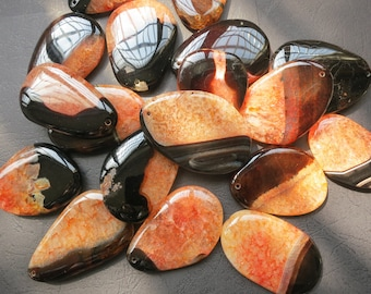 10pcs -Large Black Orange agate Pendant 40x60mm- SIMILAR AS PICTURED