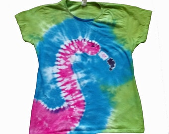 Flamingo Shirt in Blue, Green and Flamingo Pink Tie Dye for Women- Tie Dye Shirt-Flamingo Shirt