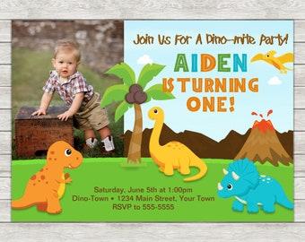 Dinosaur Birthday Invitation, Dinosaur 1st Birthday Invitation - Digital File (Printing Services Available)