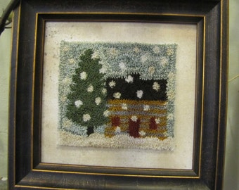Primitive Punchneedle Pattern The Cabin & The Cedar Tree