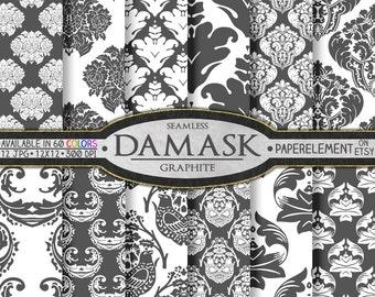 Dark Gray Damask Digital Scrapbook Paper: Damask Gray 12x12, Graphite Gray Damask Page, Gray Damask Patterns, Printable Gray Damask Backdrop