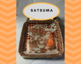 "Vintage hand painted marked  6"" square Satsuma dish"