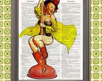 A Real Emergency- Pinup Girl as Firefighter on Plunger Gil Elvgren Retro Wall Art Gift for Men Retro Home Decor Bathroom Sign Fireman pin up