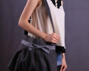 Gray Bow Pleated Bag with adjustable strap/tote/messenger bag/shouder bag/handbag/crossbody bag/For Her -053