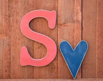 """Wooden letters - Shabby Chic, Cottage, Distressed - Rustic wood letters - 12"""" tall"""