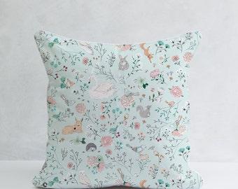 Woodland Pillow, Baby Boy Room Pillow, Forest Animals Pillow, Decorative Pillow, Nursery Cushion Cover, Woodland Nursery Decor