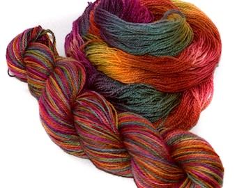 Hand dyed yarn - Merino - Tussah silk - Lace weight - 50g / 1.75oz - rainbow - HOW BAZAAR!