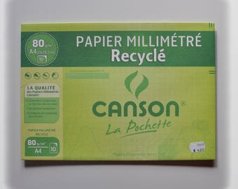 Graph paper recycled Canson 80 GSM, A4, 10 sheets