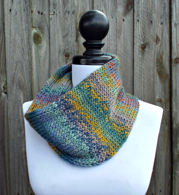 Double Knit Circle Scarf Womens Scarf - Rainbow and Grey Scarf - Cowl Scarf Womens Accessories Spring Fashion - READY TO SHIP