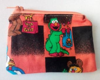 Elmo Sesame Street fabric handmade zipper coin change purse card holder