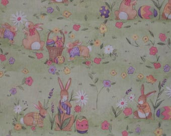 Easter Themed Scrub cap with bunnies, flowers, eggs and baskets