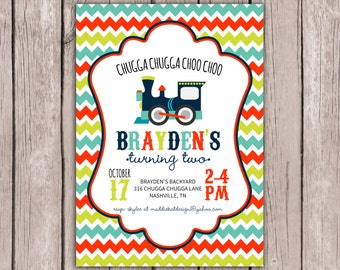 PRINTABLE- Train Birthday Invite- Boy Birthday Invite- Choo Choo Train Birthday Invite- 5x7 JPG