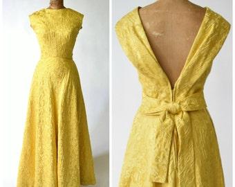 60s Hattie Carnegie Brilliant Yellow Brocade Gown // Old Hollywood Glamour, Elegant Formal Wear // Designer Vintage