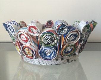 Handmade Recycled Around Small Paper Basket