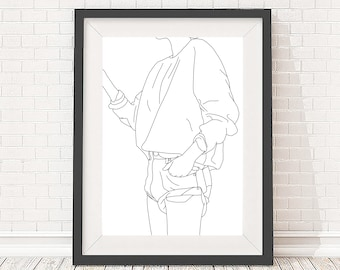 Artwork download - A4 and A3 size - Fashion illustration line drawing - Digital file - Black and white - Minimalist art
