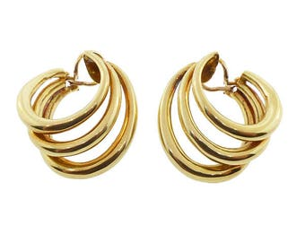 Tiffany & Co. 18K Gold Triple Hoop Earrings