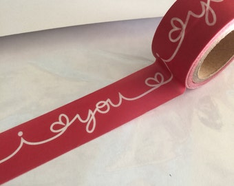 I LOVE YOU Wide Washi Tape Craftng Roll Red Hearts White Script Text Planner craft Planners Valentine Heart Valentines Day Valentine sticker