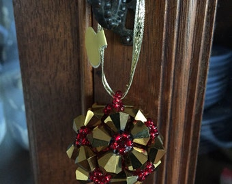 Gold and Red Beaded Ornament