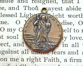 St Patrick MEDAL - Bronze or Sterling Silver - Religious Medal - Vintage Replica - Made in the USA  (SM27-766)