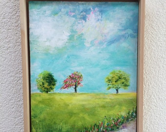 Original painting, landscape painting, colorful, mini painting, tiny art, contemporary art, gift for her, christmas gift, treescape, framed