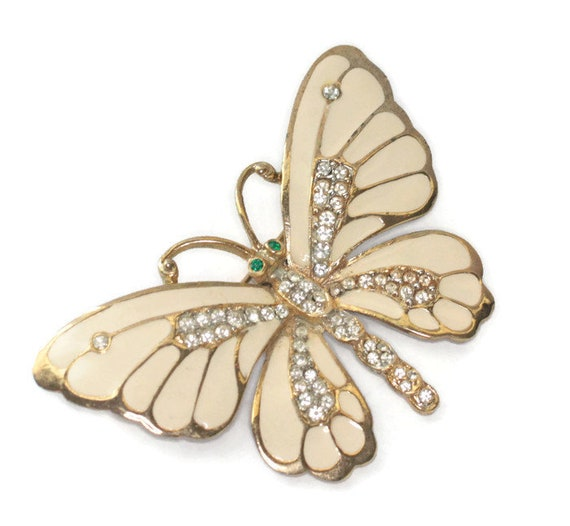 Enameled Butterfly Brooch Rhinestones Designer Craft Insect Jewelry Vintage Pin