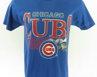 Vintage 90s Chicago Cubs T-Shirt L Deadstock MLB Baseball 50/50 [H63Q_0-7]