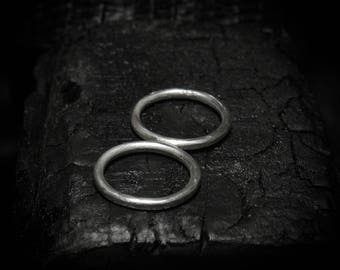 GEMINI Solid sterling silver hand-forged double finger minimalist ring