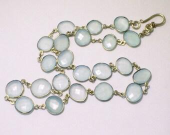 Mystic Green Chalcedony Gemstone Chain Necklace 14k Bezel Chain Necklace BZ-N-142-Chal