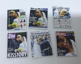 "Dolls House Miniatures -  6 x Royal newspaper covers  - Royal Wedding  ""Prince Harry & Meghan"". 1/12th"