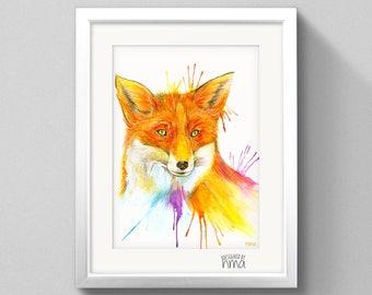 A4 Fox Watercolour Print