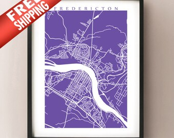 Fredericton Map - New Brunswick Art Poster