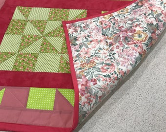 HANDMADE QUILT, Hot Pink and Green Baby Quilt for Crib or Play mat