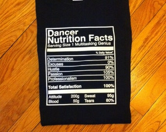Dancer Nutrition Facts T-shirt & hoodie!!!
