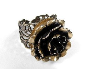 Steampunk Ring Pocket Watch Golden ROSE Filigree Ring WOLFRAM Fashion Magazine Mothers, Valentines Girlfriend Gift - Jewelry by edmdesigns