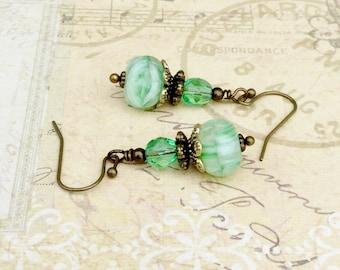 Green Earrings, Peridot Earrings, Victorian Earrings, Pale Green Earrings, Unique Earrings, Czech Glass Beads, Green Gold Earrings, Gifts