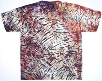 XXL Shibori Dyed Men's T Shirt Brown Earth Tie Dye 2X