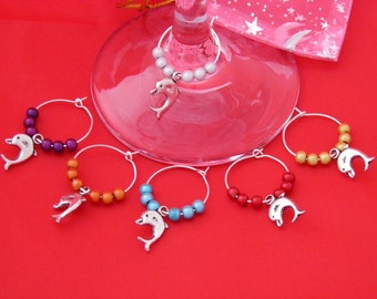 Set of 6 Handmade Dolphin Wine Glass Charms by libbysmarketplace