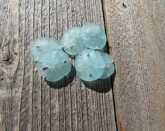 Sea Glass Sand Dollar Pendant Earrings 21mmx19mm Sea Foam Green (2)