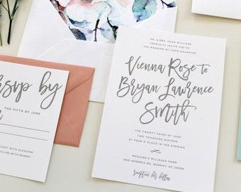 Modern Calligraphy Wedding Invitation, Calligraphy Wedding Invite, Simple Wedding Invitation, Floral Envelope Liner, Grey, Gray, Mint